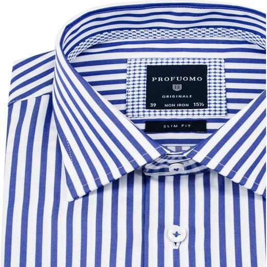 Elegancka biała koszula Profuomo w niebieskie paski