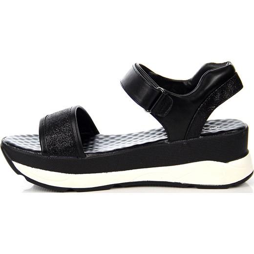 Czarne sandały damskie sportowe na rzep Wishot ButyRaj.pl