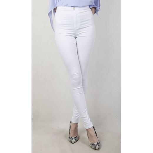 0e9cf04fab Białe spodnie skinny jeans z wysokim stanem szary olika.com.pl w Domodi