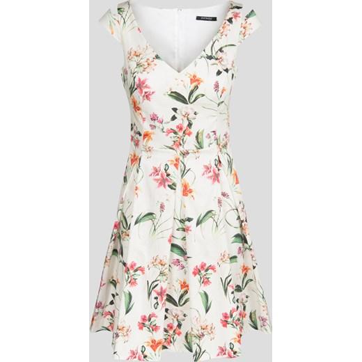 Rozkloszowana sukienka w kwiaty zielony Orsay