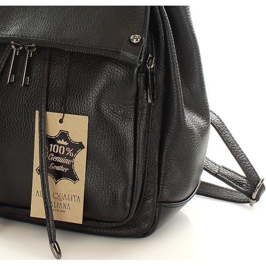 e853f68d38b17 ... Skórzany czarny plecak damski AMBER Vera Pelle One Size merg.pl ...