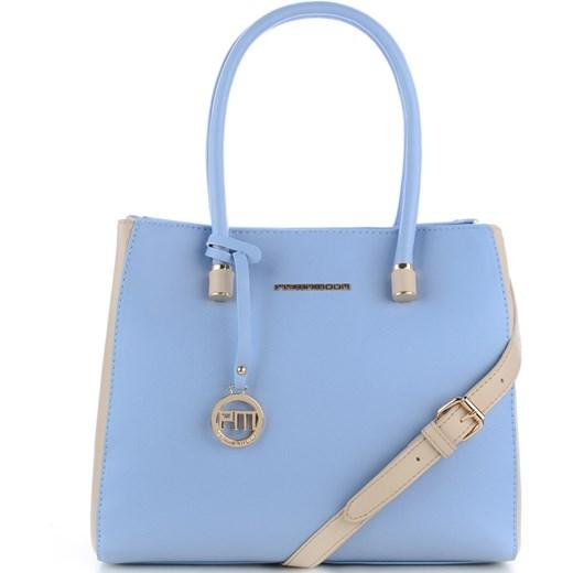 774c87d4afd99 Błękitna torebka z beżowymi dodatkami PESCINA Primamoda niebieski w ...