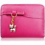 e0e08310e0ea3 Różowy portfel młodzieżowy z zawieszką Kot - zdjęcie produktu