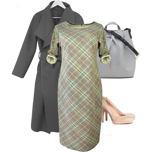 23d9af8834c2db Sukienka SIMPLE w kolorową kratkę BIG SIZE Metka metka.co w Domodi