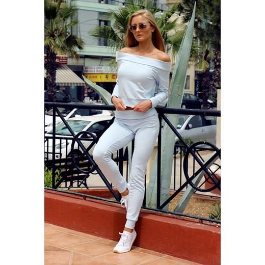 2018 buty Trampki 2018 strona internetowa ze zniżką Dres bawełniany: bluza z odkrytymi ramionami + spodnie (kolor błękitny)  brazowy YoloLook