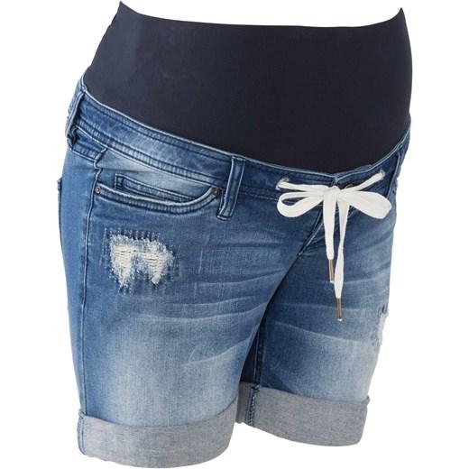44cf6a515 Szorty dżinsowe ciążowe z wiązanym troczkiem BPC Collection niebieski 46  bonprix