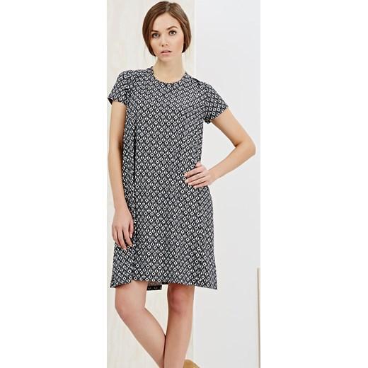 248200a285 Sukienka czarna w geometryczne wzory z krótkim rękawem szary XS Moodo.pl  okazyjna cena ...
