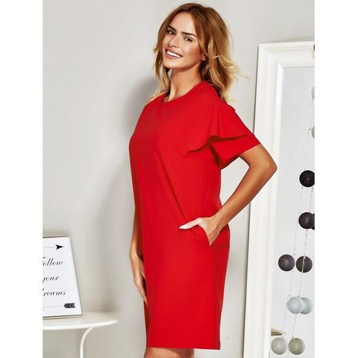 a807d9e260 ... Czerwona sukienka koktajlowa z falbanami na rękawach Papilion 46  Papilion.pl ...
