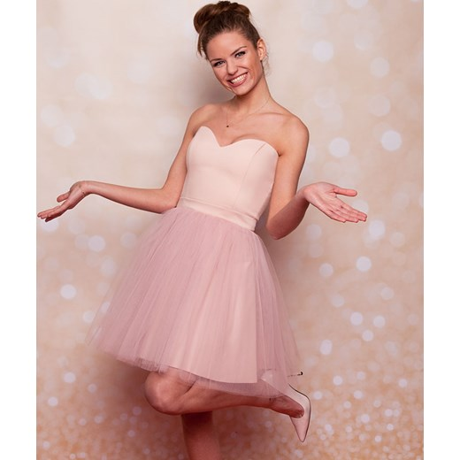 b89015a1c3 COCO - Sukienka gorsetowa tiulowa warstwowa pudrowy róż Sukienkowo bezowy 38
