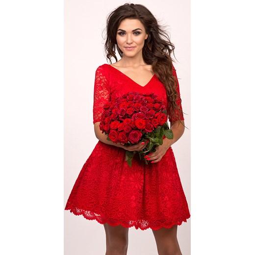 0fb4089160 EMMA - Rozkloszowana koronkowa sukienka czerwona Sukienkowo czerwony ...