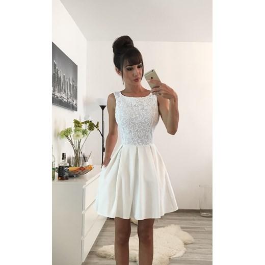 74174676db ARIANA - Rozkloszowana sukienka z kieszeniami ecru Sukienkowo bezowy 38 ...