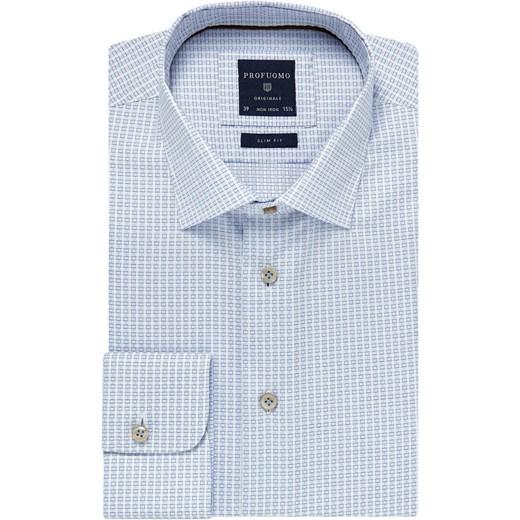 85% ZNIŻKI Elegancka błękitna koszula męska Profuomo  YKdUc
