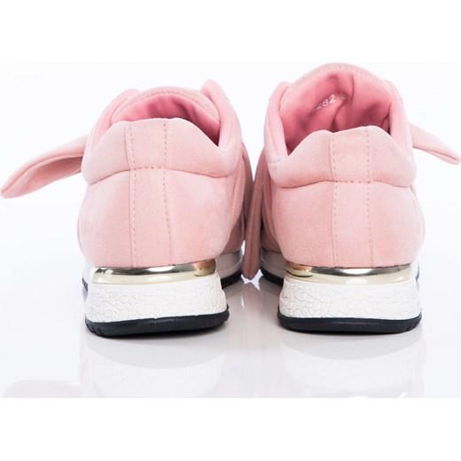 d8efaf98799ea4 Różowe buty sportowe z ozdobną kokardką na sprężystej podeszwie ze złotą wstawką  pięcie bezowy Papilion Papilion.pl w Domodi