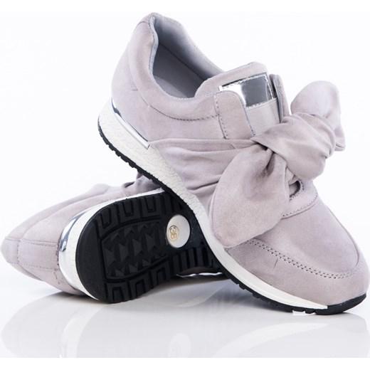 0e7e66cd Szare buty sportowe z ozdobną kokardką na sprężystej podeszwie ze złotą  wstawką na pięcie Papilion szary ...