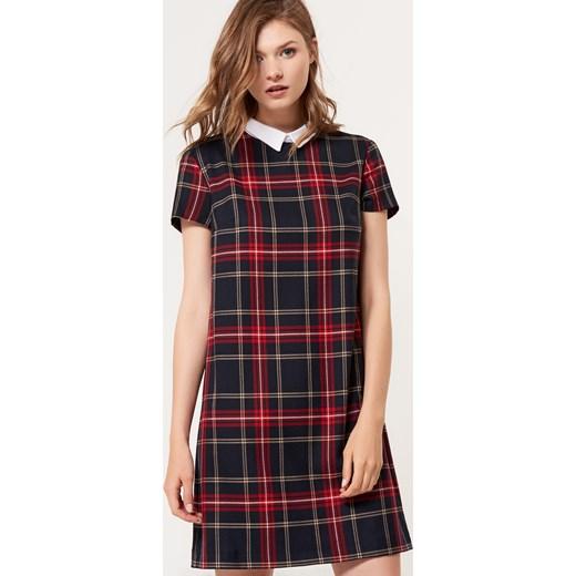 afc48466d6 Mohito - Elegancka sukienka w kratę z odpinanym kołnierzem - Niebieski  czerwony Mohito 40 ...