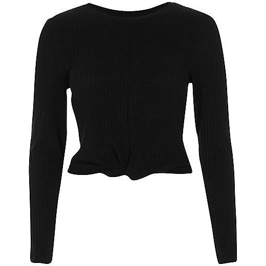 Black ribbed twist front long sleeve crop top  czarny River Island