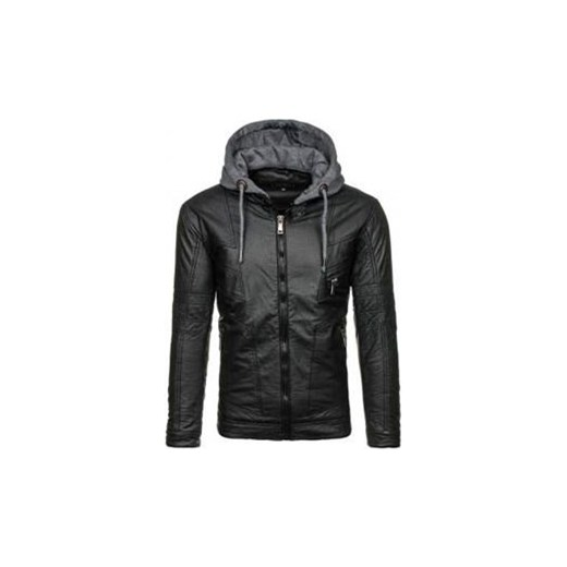 Czarna kurtka męska skórzana Denley 3102 J.Style Denley.pl