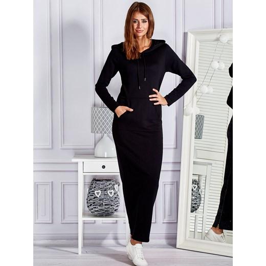 67459f6ad5 Czarna dresowa sukienka maxi Cozy z kapturem Papilion Papilion.pl w ...