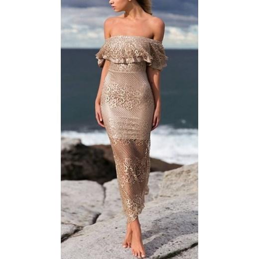 236363f6cb Seksowna sukienka z złotą koronką S rozowy SOTHE Boutique w Domodi