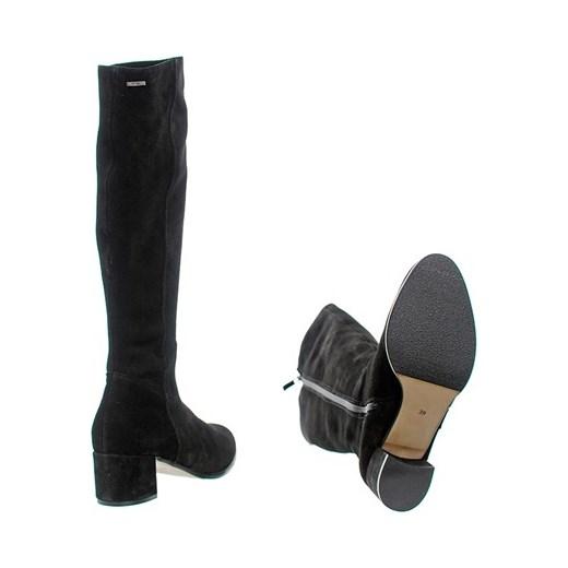 5c8ffeb33a323 SKÓRZANE KOZAKI DAMSKIE NA SŁUPKU czarny Eksbut Family Shoes w Domodi