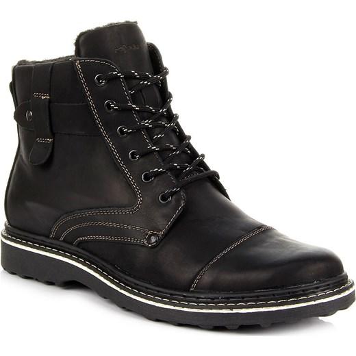 4d7e48a2 RAFADO RR302 skórzane czarne buty męskie oficerki zimowe na suwak  butyraj-pl czarny abstrakcyjne wzory