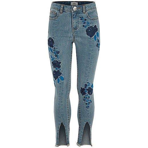 Girls blue Amelie embroidered jeans  szary River Island