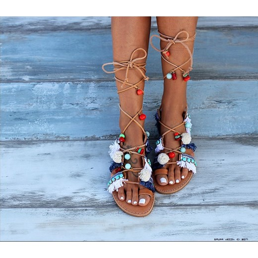 DIMITRA FRAGIA ** Greckie Sandały 100% Skóra niebieski LUXURYONLINE