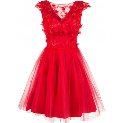 Sukienka tiulowa z koronką czerwona Monnom Boutique showroom.pl