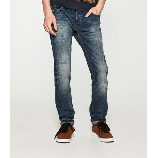 House jeansy slim fit granatowy szary House jeansy