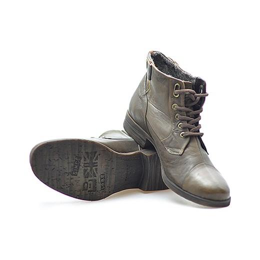 d97c4d01 Trzewiki Badura 4273 Brązowe licowe arturo-obuwie szary jesień w Domodi