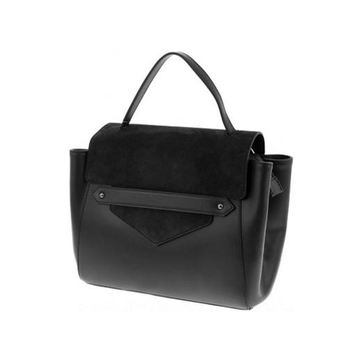 ae1faa564d927 Włoska torebka kuferek z zamszem Laura Biaggi czarna czarny Vera Pelle  stylowagalanteria.com