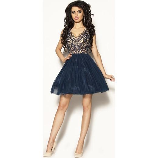 d91e954a Granatowo beżowa sukienka Model: PW-2289 M&M Studio Mody