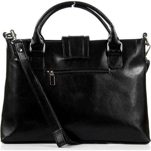 0f8760c523d92 DAN-A T84 czarna torebka skórzana damska aktówka skorzana-com biznesowy w  Domodi