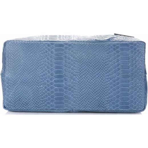 6fe66e01b70ab ... Włoskie Torebki Skórzane wzór Aligatora Niebieskie - Jeans (kolory) niebieski  Vittoria Gotti PaniTorbalska ...