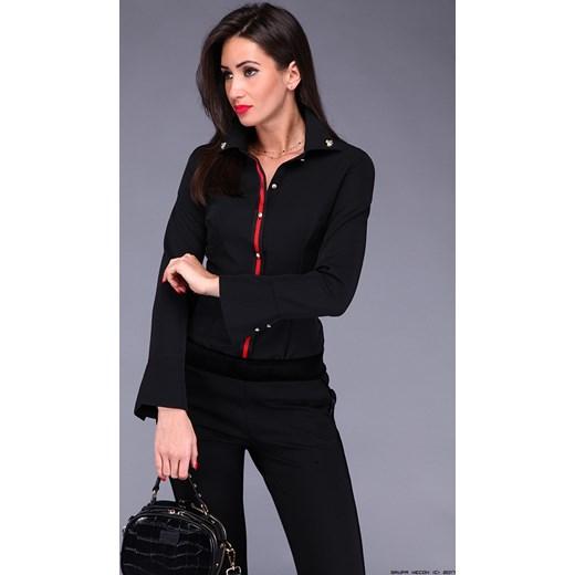 071dbb88ca0c4f koszula damska freesia ** czarna z czerwoną lamówką+ złoto LUXURYONLINE w  Domodi
