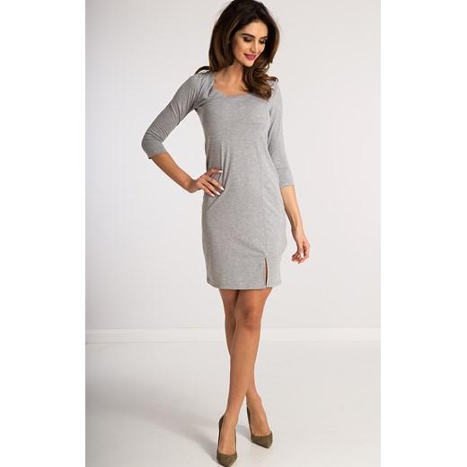 88490c3b563b Jasnoszara Sukienka z Wiązaniem Gorsetowym 3273 fasardi M fasardi.com  okazyjna cena ...