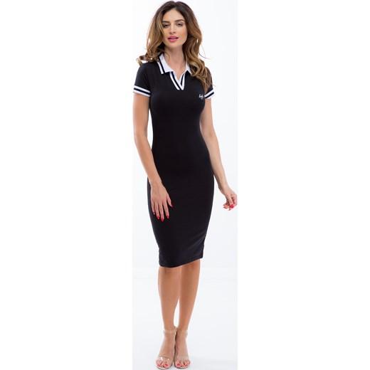 f58ed8029e Czarna sukienka sportowa z białym kołnierzykiem 5227 fasardi M fasardi.com  ...