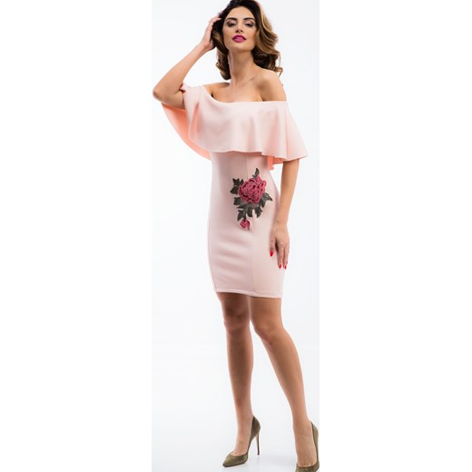 15313da7e8 Pudrowa sukienka hiszpanka z trójwymiarowym haftem 1214 rozowy fasardi XL  okazja fasardi.com ...