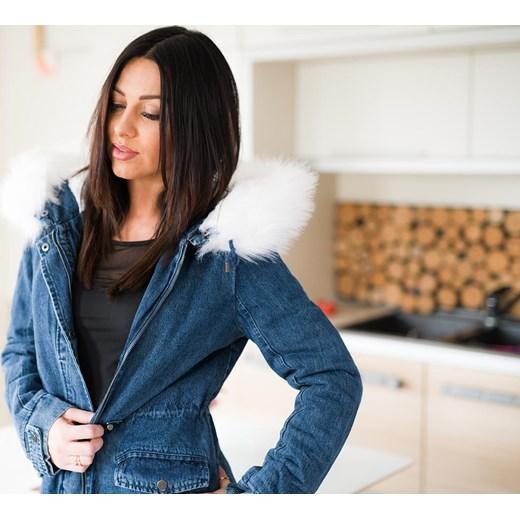 9d14e547acba4 ... Z826 Zimowa kurtka damska jeansowa parka z futrem rozmiar xs s m l  Woman Top Fashion zielony XS ...