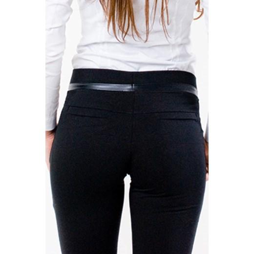 Z965 Czarne eleganckie spodnie ze skórkowym paskiem rozmiar s m l xl bialy Woman Top Fashion Dehe.pl