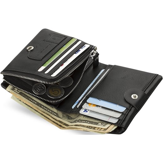 cac9d58f1556d ... ELEGANCKI SKÓRZANY POJEMNY PORTFEL MĘSKI world-style-pl szary miejsce  na karty kredytowe