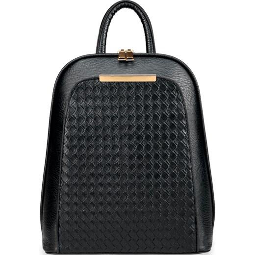 28031d3ce7476 Elegancki plecak damski usztywniany pleciony panel – czarny czarny  world-style.pl ...