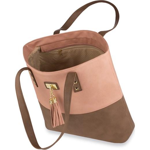 821059ec1fd42 ... Stylowa shopperka torebka damska z ćwiekami i frędzlami – brązowo- granatowa brazowy world-style