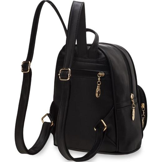 e7245c8782f6e ... Mały plecak damski pikowana kieszeń miejski styl – czarny czarny  world-style.pl ...