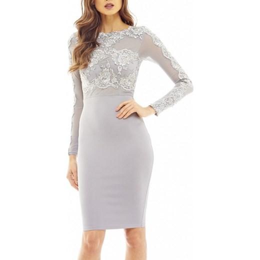 540f29cdb4 Koronkowa ołówkowa sukienka midi z siateczką szara z długim rękawem L  stylovesukienki