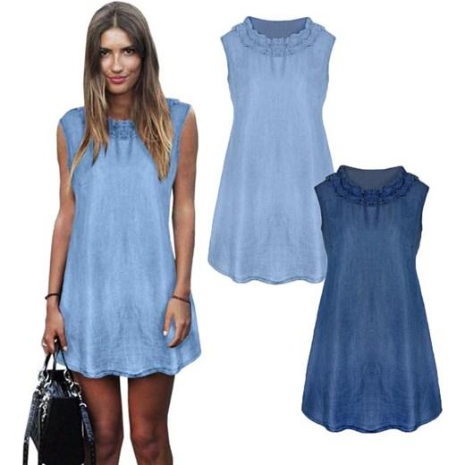 7772ca92d3 Trapezowa Jeansowa Sukienka Z Falbanką Niebieski Magmacpl W Domodi