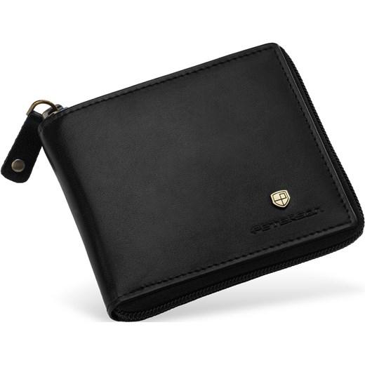 1f10da7699d1e Skórzany portfel męski petesron portmonetka zapinana na zamek – czarny  Peterson szary world-style.