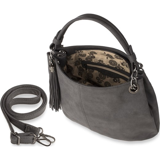 0d35ef9494e2a Elegancka shopperka worek torebka damska z frędzlami łańcuchem – grafitowy  bialy world-style.pl