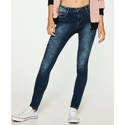 House jeansy z efektem sprania sllim fit granatowy House jeansy