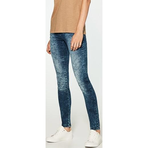 House jeansy z efektem sprania sllim fit niebieski brazowy House jeansy